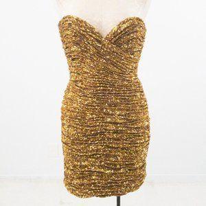 Vintage 90s SM Ruched Sequin Mini Party Dress Gold
